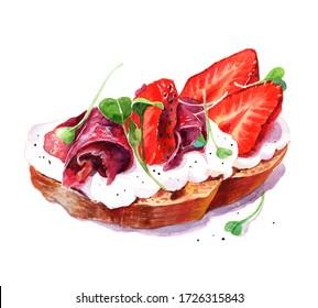 Watercolor hand drawn sandwich with white creme, jamon, strawberries and micro greens. Healthy nourishing breakfast idea. Menu design.