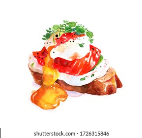 Watercolor hand drawn sandwich with white creme, salted salmon, poached egg and micro greens. Healthy nourishing breakfast idea. Menu design.