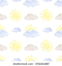 Watercolor hand drawn seamless pastel sun and clouds pattern. Blue and grey clouds, yellow sun. Cute texture for textile and fabric design, wrapping and scrapbooking paper, wallpaper, background