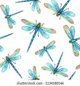 Watercolor hand drawn seamless pattern with beautiful blue dragonflies on a white background