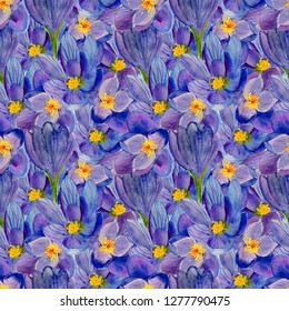 Watercolor hand drawn seamless pattern with light blue crocus flower on the white background. Saffron flowers for used on card, wallpaper, poster, banner, panel or frame.