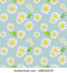 Watercolor hand drawn seamless pattern with wild meadow flower chamomile and leaves isolated on blue background. Good for textile, wrapping paper, background, summer design etc.