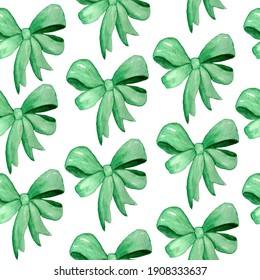 Watercolor hand drawn seamless pattern with green emerald ribbon bows for gifts party celebration birthday decor. Symbols for St Patricks day, irish ireland textile decorative wrapping paper.