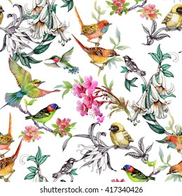 Watercolor hand drawn seamless pattern with tropical summer flowers and exotic birds on white background