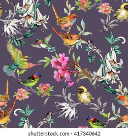 Watercolor hand drawn seamless pattern with tropical summer flowers and exotic birds on purple background