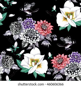 Watercolor hand drawn seamless pattern with tropical summer flowers and exotic birds on black background