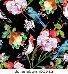 Watercolor hand drawn seamless pattern with beautiful flowers and colorful birds on black background