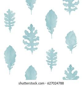Watercolor hand drawn seamless pattern. Floral seamless pattern painted with watercolor. Hand made retro stylized seamless pattern. Dusty fern leaves seamless watercolor pattern.