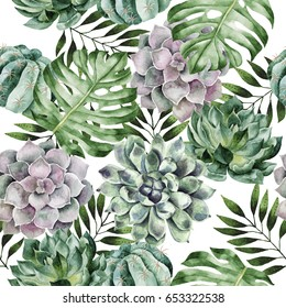 Watercolor hand drawn seamless pattern with tropical plants and succulents