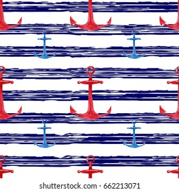 Watercolor hand drawn seamless pattern with red, blue anchors marine striped background. Cute and simple nautical design.