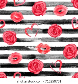 Watercolor hand drawn seamless pattern with black stripes, red roses, hearts and lips kisses. Watercolor white and black background