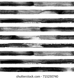 Watercolor hand drawn seamless pattern with black stripes. Watercolor white and black background