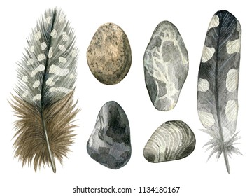 Watercolor hand drawn set of gray bird feathers and pebbles. Colorful boho collection isolated on white background