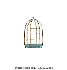 Watercolor hand drawn sketch of birdcage isolated on white