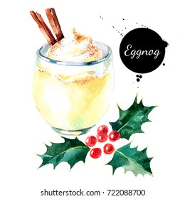 Watercolor hand drawn sketch Christmas cocktail Eggnog with cinnamon and holly berries. Isolated illustration on white background