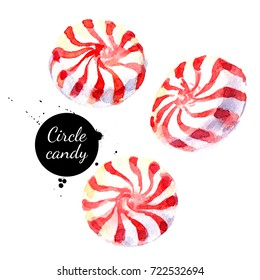 Watercolor hand drawn sketch Christmas circle peppermint candy lollypop. Isolated painted illustration on white background