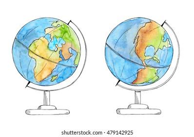Watercolor hand drawn sketch of earth globe on both sides isolated on white