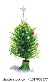 Watercolor hand drawn sketch illustration of Christmas tree with decorations on a stand with shadow art
