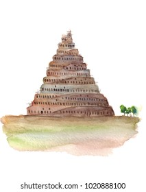 Watercolor hand drawn sketch illustration of Tower of Babel isolated on white