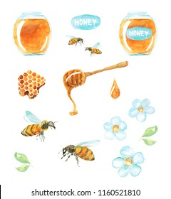 Watercolor hand drawn sketch illustration set Honey with a jar of honey, bees, a spoon, honeycomb and flowers isolated on white