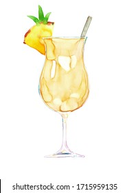 Watercolor hand drawn sketch illustration of cocktail pina colada isolated on white
