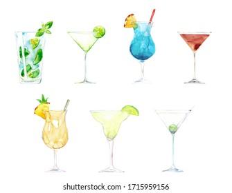 Watercolor hand drawn sketch illustration set cocktails with mojito, daiquiri, blue lagoon, manhattan, pina colada, margarita, martini dry isolated on white
