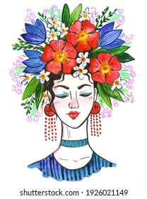 Watercolor hand drawn sketch. Illustration of a girl with flowers on her head. Spring cute simple illustration. International womens day.  Girl with black hair in blue clothes with a wreath on head.