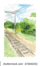 Watercolor hand drawn sketch illustration of Landscape with a railway and pillars art