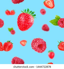 Watercolor hand drawn strawberry, raspberry isolated seamless pattern.