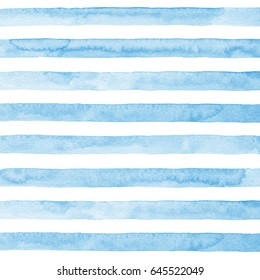 Watercolor hand drawn stripes on white background. Blue horizontal lines.