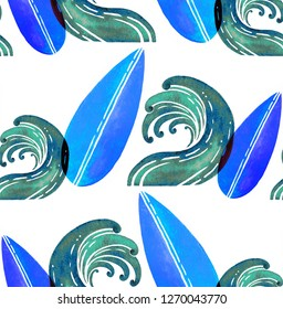 Watercolor hand drawn surfboards and waves isolated on white background. Seamless pattern in cartoon style. Perfect for fabric, wallpaper or giftwrap.