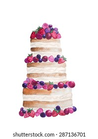 Watercolor hand drawn sweet and tasty cake with strawberry, cherry, blueberry and other berries on it. Raster image