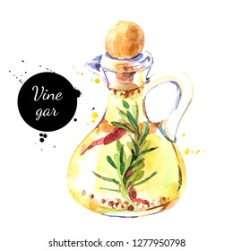 Watercolor hand drawn vinegar bottle illustration. Painted sketch isolated on white background. Superfoods poster