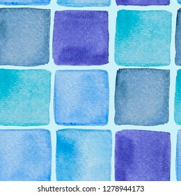 Watercolor hand drawn wallpapper with blue squares on blue background