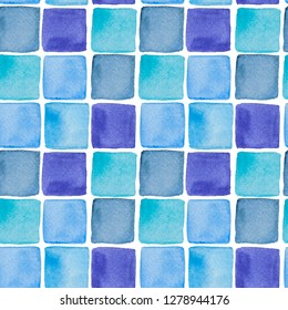 Watercolor hand drawn wallpapper with blue squares on white background