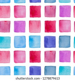 Watercolor hand drawn wallpapper with colored squares on white background
