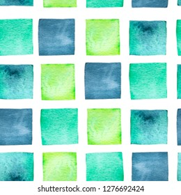 Watercolor hand drawn wallpapper with green and indigo squares on white background