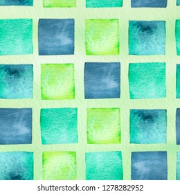 Watercolor hand drawn wallpapper with green and indigo squares on yellow background