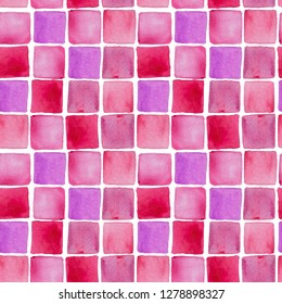 Watercolor hand drawn wallpapper with pink squares on white background