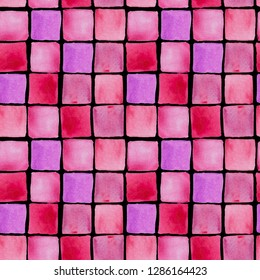 Watercolor hand drawn wallpapper with pink squares on black background