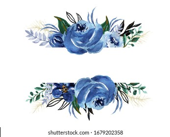 Watercolor hand drawn winter fall blue flower and Botanical tree leaf foliage of seasonal plants and herbs garden for card frame border on white
