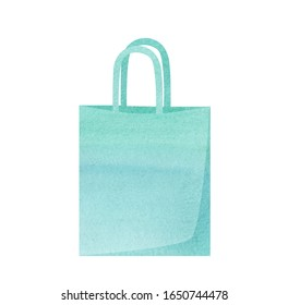watercolor hand drawn woman shopper bag turquoise color isolated on white background