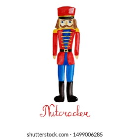 Watercolor hand drawn wooden toy soldier - nutcracker.