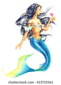 Watercolor hand paint mermaid holding a flower, on white background.