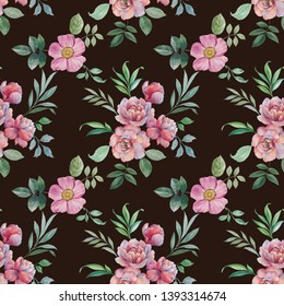 Watercolor hand paint pink peonies and leaves, seamless pattern. Flowers and leaves for design. Seamless floral pattern.