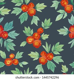 Watercolor hand paint Red roses and green leaves. seamless pattern. Flowers and leaves for design. Seamless floral pattern.