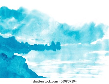 Watercolor hand painted abstract image. Illustration looks like a landscape with rocks and stones in the foreground, with mountains on the background and with trees, which are reflected in the lake.