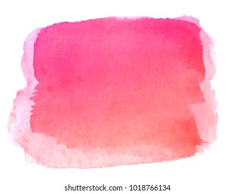 Watercolor hand painted abstract pink red background. Brush stroke isolated on white background.