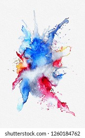 Watercolor hand painted abstract splash in blue colors on white textured paper