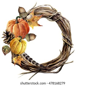 Watercolor hand painted autumn wreath of twig. Wood wreath with pumpkin, pine cone, fall leaves, feather and acorn. Autumn illustration for design and background